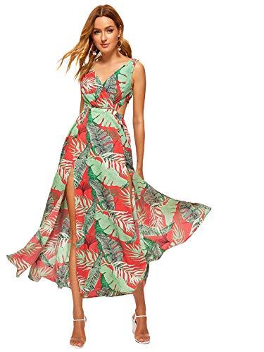 Floerns Women Sexy Sleeveless V-Neck Split Summer Beach Floral Print Maxi Dress Multi M