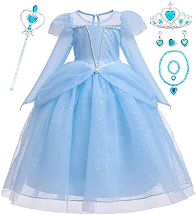 FUNPARTY Princess Costume Dress Up for Little Girls with Crown,Mace,Accessories Age of 3-10 Years