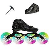 Patins De Vitesse Pour Femmes, Flash Wheel Professional Inline Speed Skates, Adult Inline Skates with Backpack(Size:7.5/(24CM)/40)