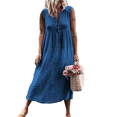 W-Fight Womens Summer Plus Size Sleeveless Loose Maxi Long Shirt Dress Button V-Neck Beach Sundress
