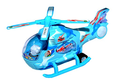 TOYMANIA Musical Fighter Helicopter Aircraft Toy for Kids.   with Colorful 3D Light Effects and Sound.   Very Big Size & 360 Degree Rotation.   Bump and GO Action Toys. (Blue Color)