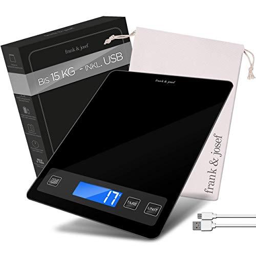 frank & josef Premium Küchenwaage – Digitale Küchenwaage für bis zu [15kg] – Mit [2] Batterien & Akku – TARA & HOLD Funktion – Extra große Wiegefläche – Inkl. E-Book zum Brotbacken