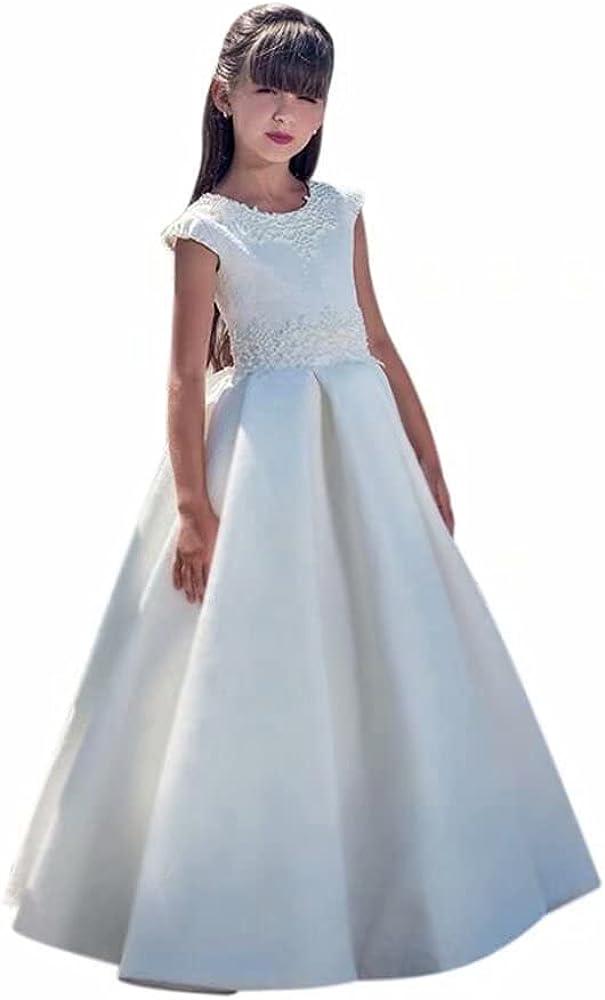 QueenBridal Cap Sleeve Satin First Communion Dress Lace Flower Girl Dresses Princess Wedding Ball Gown QU165