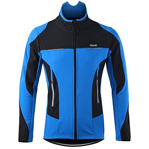 XDKS - Giacca da ciclismo invernale da uomo, in pile termico, impermeabile, in softshell Blu L
