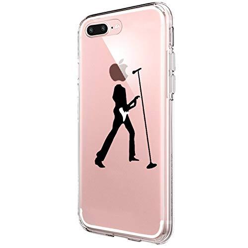 Layeri Coque de protection ultra fine en silicone transparent pour iPhone 7 Plus Motif marbre et fleurs Transparent