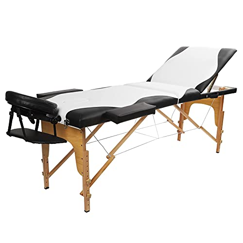 lyrlody Lit de Massage Pliable, Table de Massage Réglable en Hauteur Portable Cadre en Bois Table...