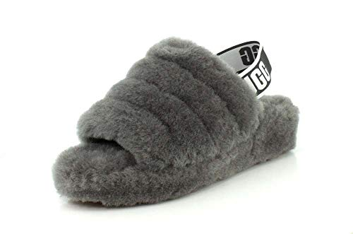 UGG Womens Fluff Yeah Slide Cherry Slipper - 11 Charcoal