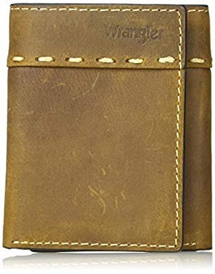 Wrangler Men's Leather Trifold Wallet, Cognac western stitch, One Size