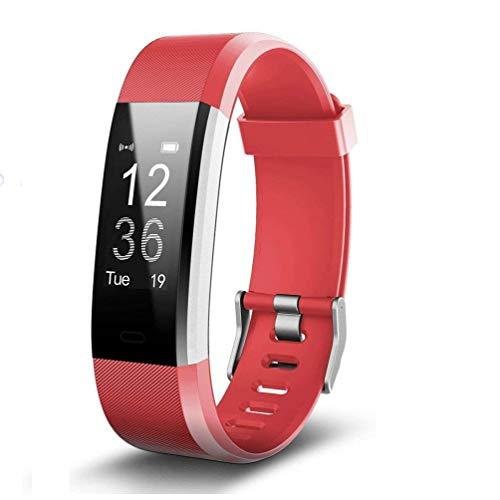 NBWS–Brazalete de Fitness con pulsómetro, podómetro Reloj Pulso Reloj Resistente al Agua IP67podómetro Actividad Tracker Bluetooth Smart Watch Reloj de Pulsera, para niños Mujer Hombres, Rojo