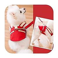 かわいいペットの犬のハーネスとリードセット 犬のベストハーネス小型犬ウォーキングロープ屋外の子犬の胸ストラップストラップベルト-F-XL