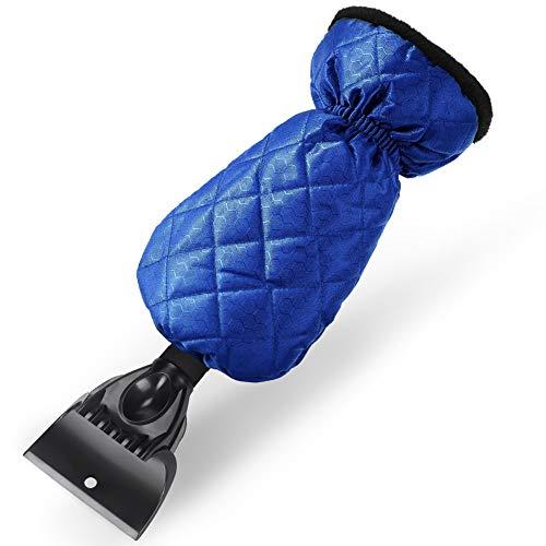 Find-MyWay Eiskratzer, Eiskratzer Auto mit Handschuh Rutschfestem Schneeschabers Eisschaber Scheibenkratzer für Auto Windschutzscheiben und -Fenster Kratzt Mühelos Frost & Schnee (Blau)