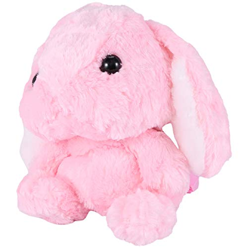 Gaetooely Plush Rabbit Long Ear Bunny Bag Plush Doll Plush Toys Children Backpack for Girls Kids,Pink