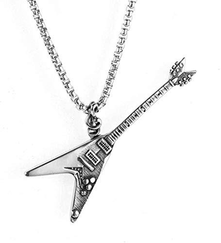 GLLFC Accesorios para Collar Moda Hombre s Acero Inoxidable Música Collar Punk Guitarra eléctrica Titanio Colgante de Acero Collar Regalo para Mujeres Hombres
