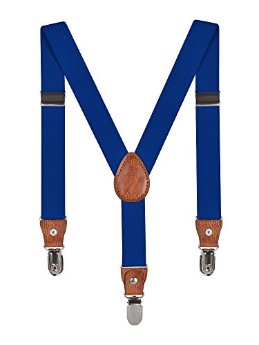 Infantil Niños Niñas Tirantes Ajustable Elásticos Y-Forma Con 3 Clips De 2.5 cm Ancho Accesorios Solído - Azul