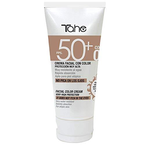 Tahe Protector Solar Facial con Color Sun Protect SPF 50+ UVA-UVB para Pieles Sensibles Color Natural 02 Resistente al Agua 50 ml