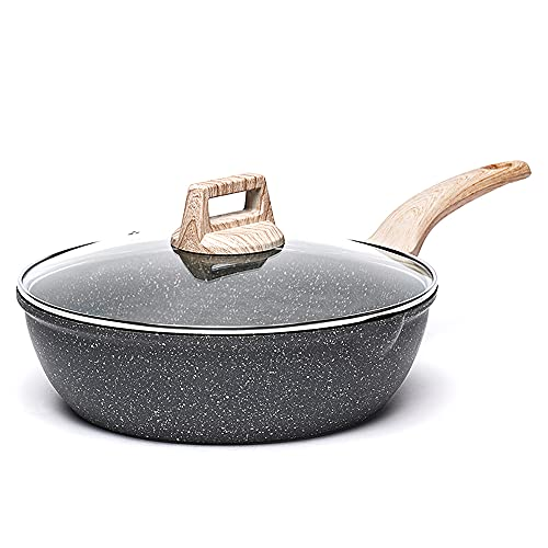 Carote 4.5-Quart Nonstick Saute pan, Deep Skillet with Glass Lid,Non-Stick Jumbo Cooker Granite Stone Coating from Switzerland,11 inch