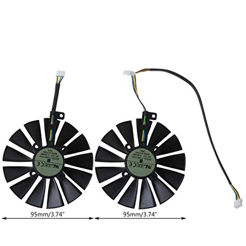 KJ-KUIJHFF 1 par de ventiladores de enfriamiento de 95 mm para A-SUS ROG POSEIDON GTX1080TI P11G STRIX RX470 RX570 580