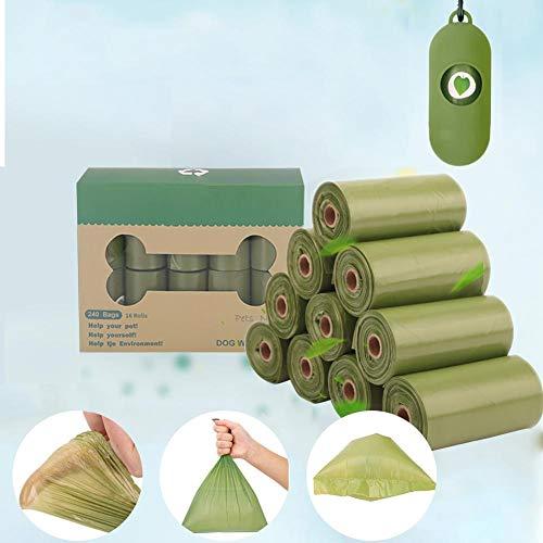 Chengstore Pet 100 Bolsa de Basura Biodegradable respetuosa con el Medio Ambiente, Bolsa de residuos para Recoger Perros, Bolsa de residuos para Perros, 16 rollos/20 Rollos, Color Verde