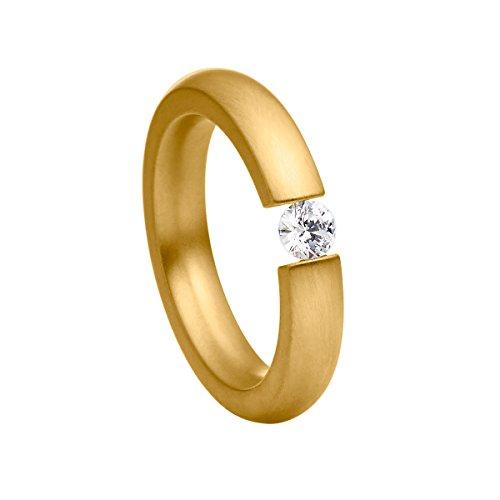 Heideman Ring Damen Spannring schmal aus Edelstahl Gold farbend matt Damenring für Frauen mit Swarovski Stein Zirkonia Weiss im Brillant Schliff 4mm