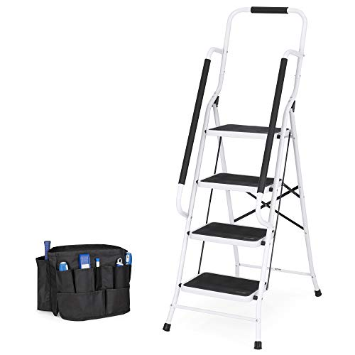 Best Choice Products 4-Step Portable Folding Anti-Slip Steel Safety Ladder w/Handrails, Attachable Tool Bag
