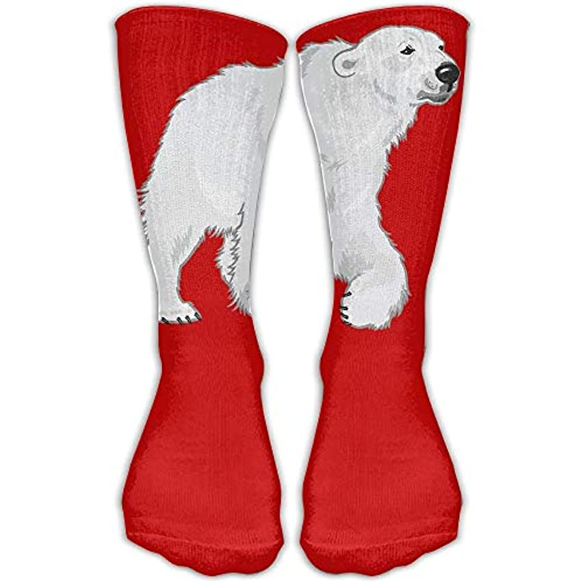 Winter Polar Bear Unisex Performance Crew Socks Protect The Wrist for Cycling Moisture Control Elastic Socks 11.8inch