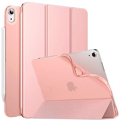MoKo Funda para iPad Air 4ta Generación 2020 Nuevo iPad 10.9 2020, [Admite Carga Inalámbrica Apple Pencil] Inteligente Cubierta Protectora Ultra Delgada con Suave TPU Trasera Transparente, Oro Rosa