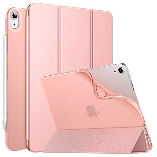 MoKo Case Fit New iPad Air 4, iPad Air 4th Generation Case 2020 10.9', Smart Trifold Stand Slim Folio Case Soft TPU Frosted Translucent Back Cover Fit iPad Air 4 2020,Auto Wake/Sleep, Rose Gold