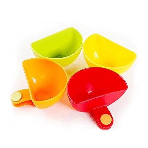 Funnytoday365 4 Pcs Set Assorted Salad Sauce Ketchup Jam Dip Clip Cup Bowl Saucer Tableware Kitchen Sugar Salt Vinegar Organization 4 Colors
