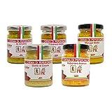 Il Kit Oro contiene una selezione di creme di peperoncino concentrato al 92% realizzate con frutti di colori bianco, giallo e arancio. Tutte le varietà scelte si caratterizzano per retrogusti fruttati e per la spiccata piccantezza, che va dai 4.000 SHU del Jalapeño agli atomici 2.000.000 SHU del Moruga Giallo, uno dei peperoncini più temibili del mondo.