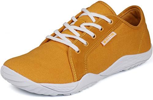WHITIN Damen Canvas Sneaker Barfussschuhe Traillaufschuh Schuhe Barfußschuhe Barfuß Trekkingschuhe Minimalschuhe Trail Laufschuhe Laufschuh für Frauen Zuma Running Shoes Gelb gr 37 EU