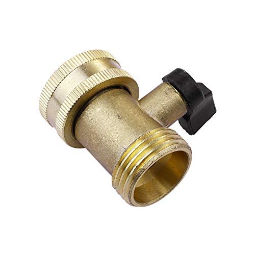 E-zoe 03V Heavy Duty Brass Garden Hose Connector with Shut Off Valve Single Brass Water Hose Parts 3/4 Inlet and Outlet Thread with Comfort Grip to Control Water Flow