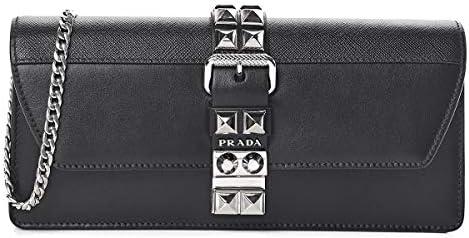 Prada Elektra Black Saffiano Calfskin Leather Studded Crossbody Clutch 1BF084 product image