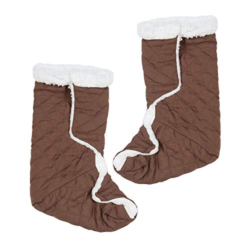 Jobar Warm Slippers Leg/Foot Warmers, Regular, Brown and White 2 Count