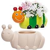 Baker Ross Macetas de cerámica con diseño de oruga perfectas para decoraciones creativas infantiles (pack de 2)