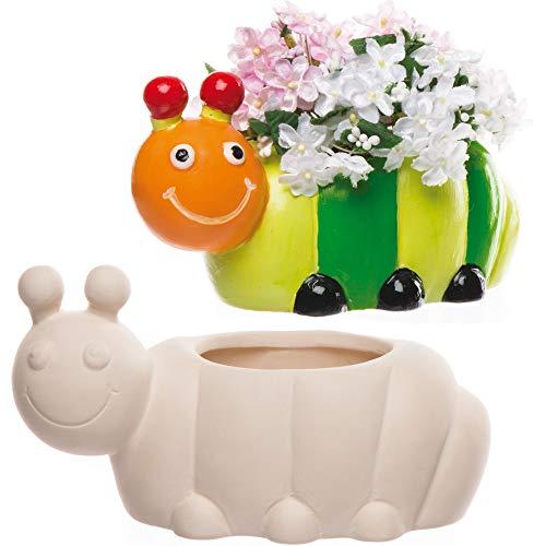 """Baker Ross Keramik-Blumentöpfe """"Raupe"""" für Kinder zum Gestalten, Bemalen und Verzieren (2 Stück)"""