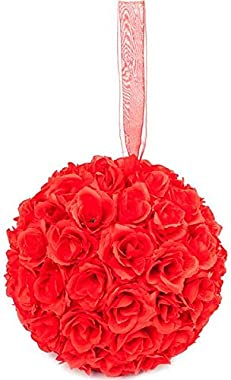 Generies Delicate 10pcs Diameter 25cm Red Color Satin Flower Balls for Wedding Decoration