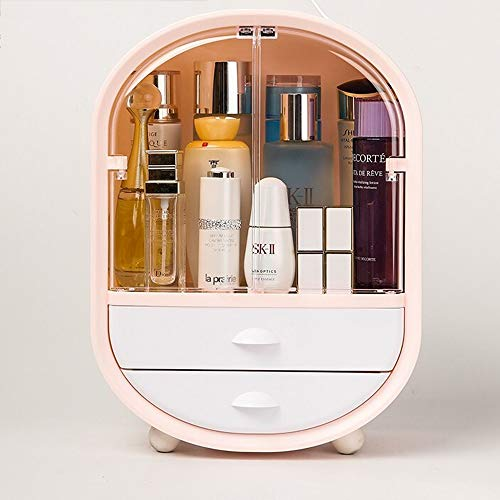 Kcakek Draagbare opbergdoos cosmetica lippenstift roze stof draagbare rack lade Desktop cosmetische opbergdoos cosmetische box cosmetische plank badkamer toilet (Color : Pink)