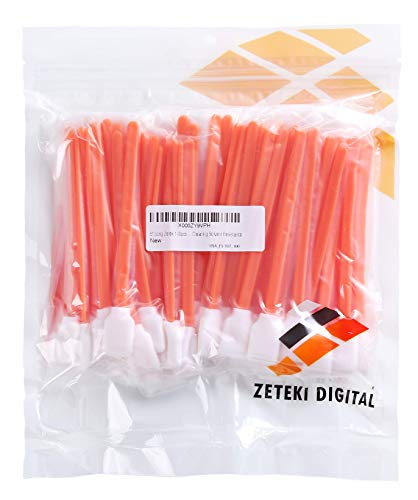 Zetek 5' Long 100 pcs Foam Tip Cleaning Swabs Sponge Stick for Inkjet Print Head Optical Lens Gun Cleaning Solvent Resistance