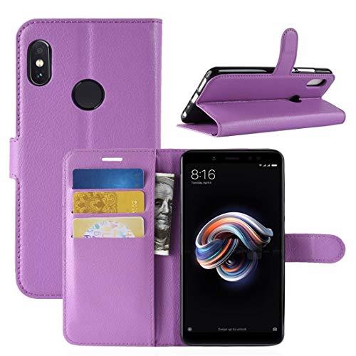 ANTONIDAS -Para Xiaomi redmi Nota 5 Caso Pro Litchi Textura Horizontal Pulgar Cuero Protector con el Soporte y Las Ranuras for Tarjeta y Monedero (Negro) Carcasa de telefono (Color : Purple)