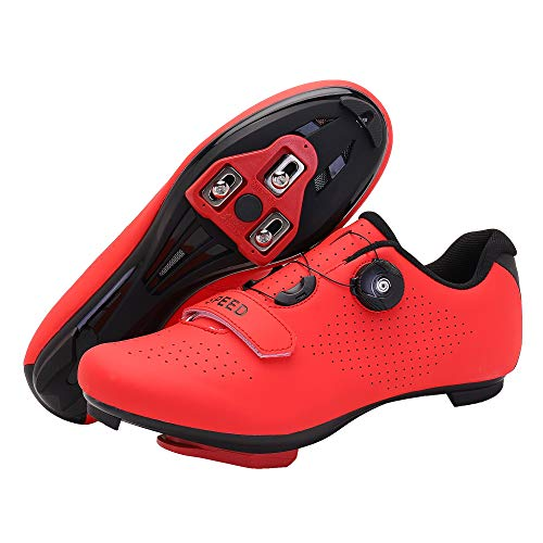 Men's Cycling Shoes, Compatible with Indoor Peloton Mountain Road Bike Peleton SPD Shoes for Men Delta Cleats Clip to Lock Shimano Pedal (Red, 8)