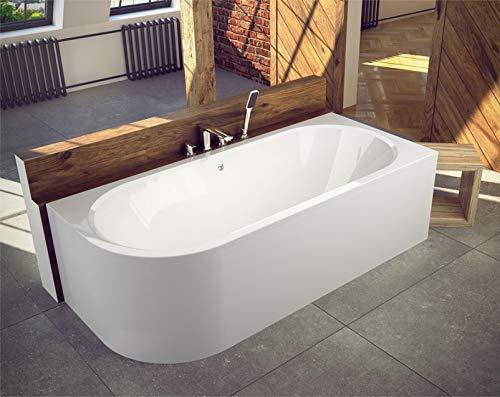 BADLAND Eckbadewanne Eckwanne Badewanne Rechteck Avita RECHTS LINKS 170x75 mit Acrylschürze, Füßen und Ablaufgarnitur GRATIS (170x75 LINKS)