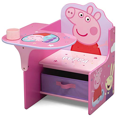 Delta Children Chair Desk with Storage Bin - Ideal for Arts & Crafts, Snack Time, Homeschooling, Homework & More, Peppa Pig (TC83690PG-1171)