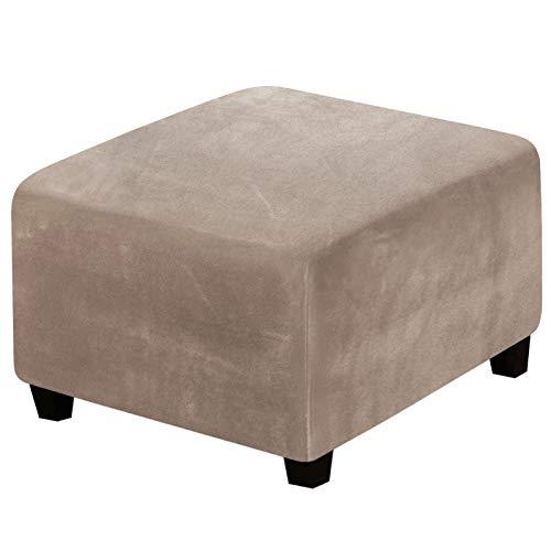 BEDSETS Samt-Stretchhussen für Fußhocker, Möbelbezug mit weicher, dicker elastischer Unterseite, waschbar (grau-braun)