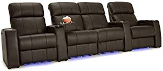 Seatcraft Sonoma Home Theater Seating Power Recline Top Grain Leather with Adjustable Powered Headrests (Brown, Row of 4 Middle Loveseat)