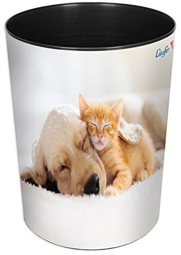 Läufer 26667 Papierkorb Hund und Katze, 13 Liter Mülleimer, perfekt für das Kinderzimmer, rund, stabiler Kunststoff, verschiedene Motive