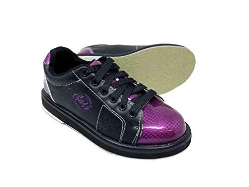 SaVi Bowling Products Zapatos de Bolos clásicos para Mujer, Morado/Negro, con Cordones y Suelas universales para Bolos diestros o Zurdos, Desde Principiantes hasta Profesionales, Púrpura, 8.5 US