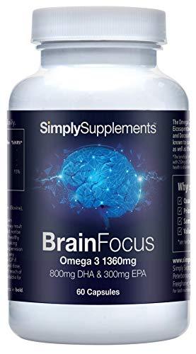 BrainFocus, DHA 800mg con Omega 3 1360mg - La dosis más alta del mercado - ¡Bote para 2 meses! - 60 Cápsulas - SimplySupplements