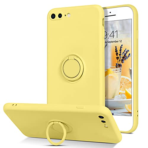 BENTOBEN iPhone 8 Plus Case, iPhone 7 Plus Case, Slim Silicone Soft Rubber with 360° Ring Holder Kickstand Car Mount Supported Protective Cases for Apple iPhone 8 Plus/iPhone 7 Plus 5.5 Inch, Yellow