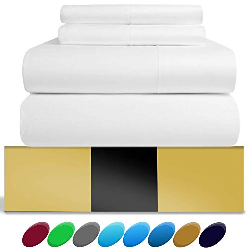 URBANHUT Egyptian Cotton Sheets Set (4 Piece) 800 Thread Count - Bedspread Deep Pocket Premium Bedding Set, Luxury Bed Sheets for Hotel Collection Soft Sateen Weave (California King, White)