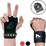 Aireez 2 in 1 Crossfit Handschuhe MB Pull up Grips Für Handschutz & Handgelenk Bandagen Set, Hand...